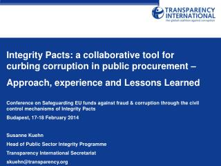 Integrity Pacts: a collaborative tool for curbing corruption in public procurement –