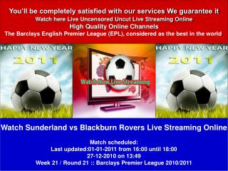 Sunderland vs Blackburn Rovers LIVE STREAM ONLINE TV SHOW