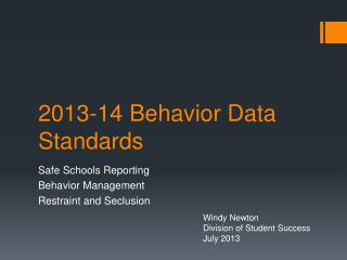 2013-14 Behavior Data Standards