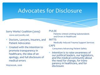 Advocates for Disclosure