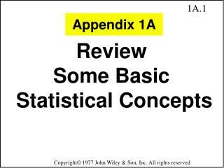 Review  Some Basic  Statistical Concepts