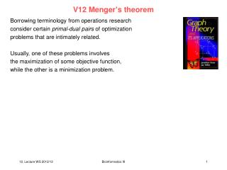 V12 Menger's theorem