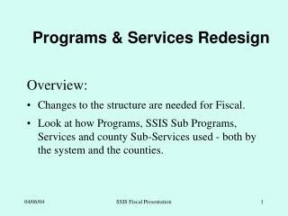 Programs & Services Redesign