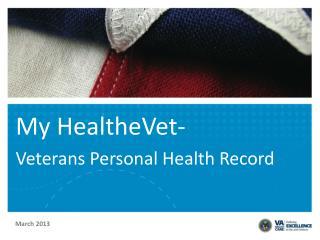 My HealtheVet- Veterans Personal Health Record