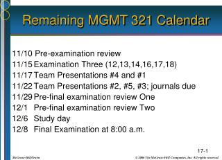 Remaining MGMT 321 Calendar
