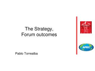 The Strategy, Forum outcomes