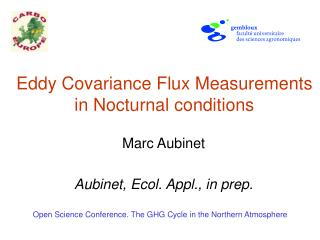 Eddy Covariance Flux Measurements in Nocturnal conditions