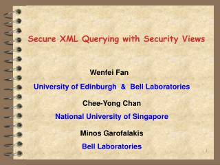 Secure XML Querying with Security Views