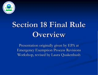 Section 18 Final Rule Overview