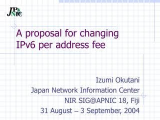 A proposal for changing IPv6 per address fee