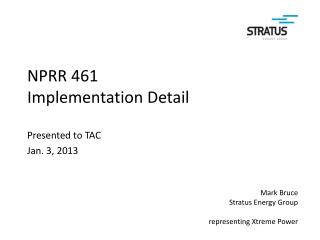 NPRR 461 Implementation Detail
