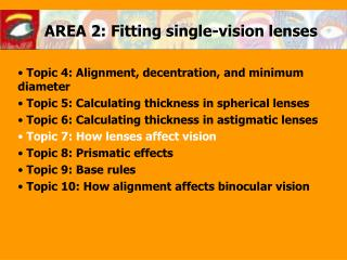 AREA 2: Fitting single-vision lenses