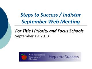 Steps to Success / Indistar September Web Meeting