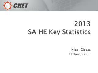 2013 SA HE Key Statistics