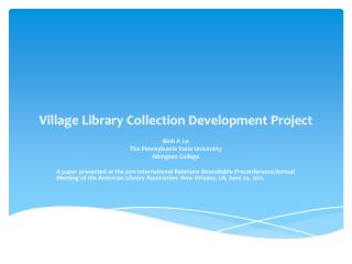 Village Library Collection Development Project
