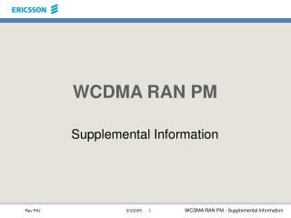WCDMA RAN PM