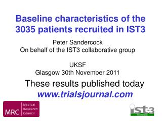 Baseline characteristics of the 3035 patients recruited in IST3
