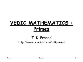 VEDIC MATHEMATICS : Primes