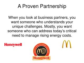 A Proven Partnership