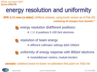 energy resolution and uniformity