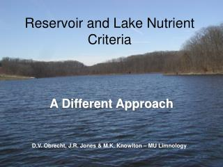 Reservoir and Lake Nutrient Criteria