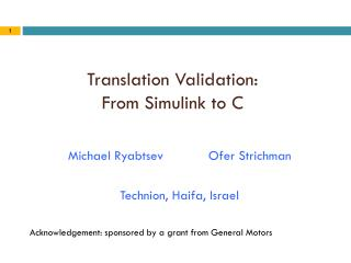 Translation Validation: From Simulink to C