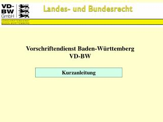 Vorschriftendienst Baden-Württemberg VD-BW