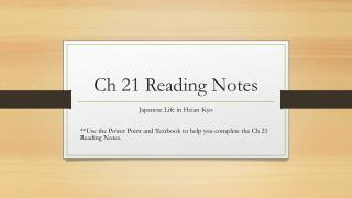 Ch 21 Reading Notes