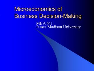 Microeconomics of Business Decision-Making