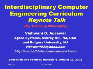 Interdisciplinary Computer Engineering Curriculum Keynote Talk