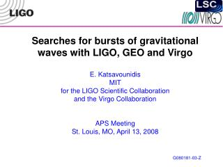 Gravitational wave bursts
