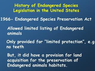 History of Endangered Species Legislation in the United States
