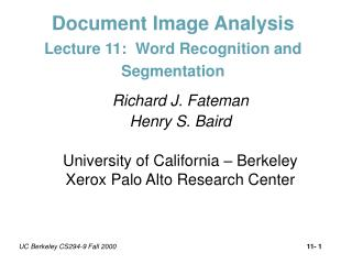 Document Image Analysis Lecture 11:  Word Recognition and Segmentation