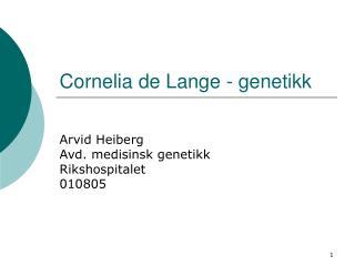 Cornelia de Lange - genetikk