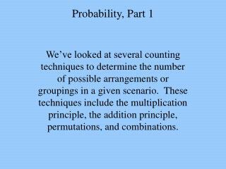 Probability, Part 1