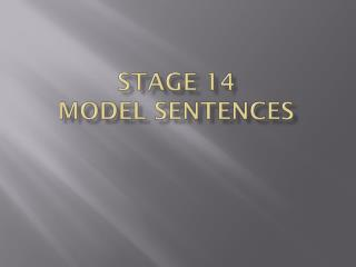 Stage 14 Model Sentences
