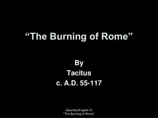 """The Burning of Rome"""
