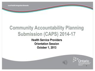 Community Accountability Planning  Submission (CAPS) 2014-17