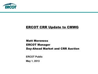 ERCOT CRR Update to CMWG
