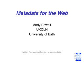 Metadata for the Web