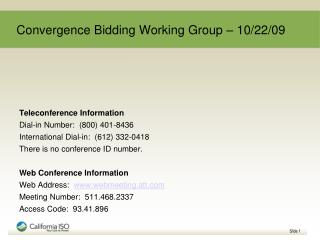 Convergence Bidding Working Group – 10/22/09