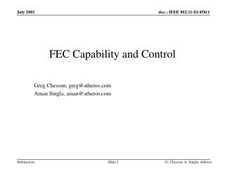 FEC Capability and Control