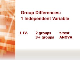 1 IV.     2 groupst-test 3+ groupsANOVA
