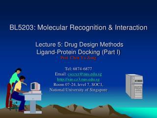 BL5203: Molecular Recognition  Interaction    Lecture 5: Drug Design Methods  Ligand-Protein Docking Part I Prof. Chen Y