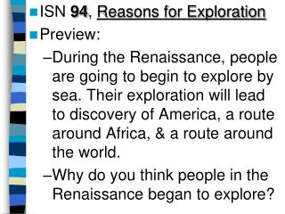 ISN  94 ,  Reasons for Exploration Preview: