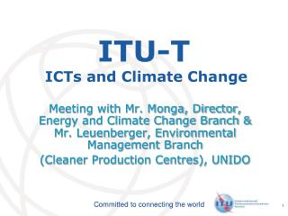 ITU-T  ICTs and Climate Change