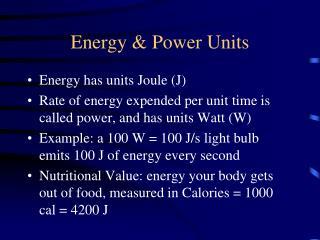 Energy & Power Units
