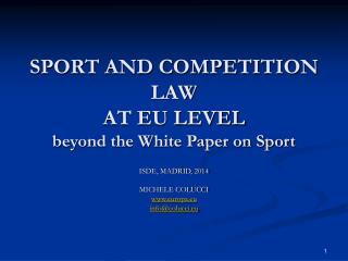 SPORT AND COMPETITION LAW AT EU LEVEL beyond the White Paper on Sport