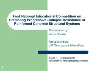 First National Educational Competition on Predicting Progressive Collapse Resistance of Reinforced Concrete Structural S