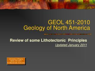 GEOL 451-2010 Geology of North America